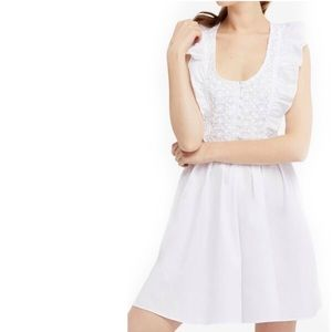 NWT {Free People} Half Moon White Ruffle Dress